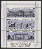 Barbuda MNH Scott #593 Sheet Of 6 With Surcharges Buckingham Palace, Caernarvon Castle, Highgrove House - Royal Wedding - Antigua Et Barbuda (1981-...)