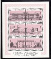 Barbuda MNH Scott #592 Sheet Of 6 With Surcharges Buckingham Palace, Caernarvon Castle, Highgrove House - Royal Wedding - Antigua Et Barbuda (1981-...)