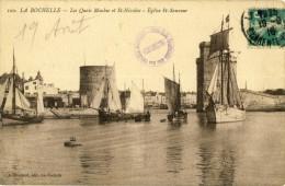 CP, 17, La Rochelle, Les Quais Maubec Et St-Nicolas - Eglise St-Sauveur, Voyagé En 1916 - La Rochelle