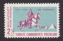 Turkey, Scott #1468, Mint Hinged, 11th Century Warrior, Issued 1959 - 1921-... Republic