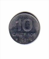 BRAZIL   10  CRUZEIROS  1981  (KM # 592.1) - Brazil