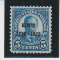 United States 1928 Scott # 648 Used 5ct Hawaii Overprint Catalogue $12.50 - Used Stamps