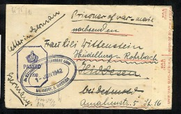 Southern Rhodesia 1942 German POW Camp Salisbury Prisoner Of War Censored Cover (V972) - Rhodésie Du Sud (...-1964)