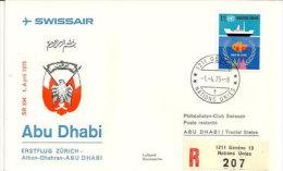 Swissair. Premier Vol Genève - Abu Dhabi, Lettre Recommandée De Genève Nations-Unies 1975 - Abu Dhabi