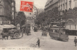 PARIS IV  Rue St ANTOINE Animée CAFE Au CANON De La BASTILLE TRAMWAY Vincennes Louvre Voyageurs En 1909 - Arrondissement: 04