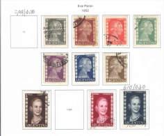 Argentina 1952 Stamps Used. Scott.600/610-Eva Peron  See Scan - Argentina
