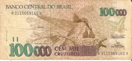 BILLETE DE BRASIL DE 100000 CRUZEIROS  (BANK NOTE) COLIBRI-MARIPOSA-BUTTERFL Y - Brasil