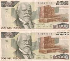 PAREJA CORRELATIVA DE MEXICO DE 2000 PESOS AÑO 1989 DE JUSTO SIERRA CALIDAD EBC  (BANKNOTE) - México