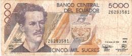 BILLETE DE ECUADOR DE 5000 SUCRES DEL 6 DE MARZO DEL 1999 (BANKNOTE) TORTUGA-TURTLE-PINGUINO-P ENGUIN - Ecuador