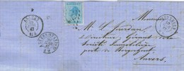 AA 16 BELGIE BRIEF VAN WETTEREN  NAAR ANTWERPEN  MET 20 CENT - 1865-1866 Profil Gauche