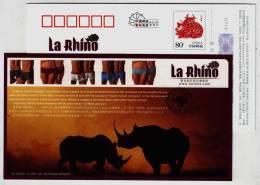 African Rhinoceros,China 2009 La Rhino Underwear By Spain Designer Luca Stefano Advertising Pre-stamped Card - Rhinozerosse