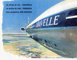 AVION  CARAVELLE)  SUD- AVIATION  -  PUB FRIGEAVIA -Superbe Document 20x26 2 Pages Recto Verso - Publicidad