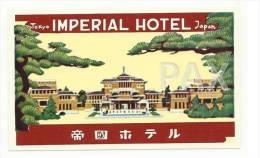 JAPAN ♦ TOKYO ♦ IMPERIAL HOTEL ♦ VINTAGE LUGGAGE LABEL ♦ 2 SCANS - Hotel Labels
