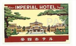 JAPAN ♦ TOKYO ♦ IMPERIAL HOTEL ♦ VINTAGE LUGGAGE LABEL ♦ 2 SCANS - Adesivi Di Alberghi