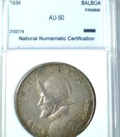 1934, PANAMA, LARGE, SILVER, PROFFESIONALY RATED AU-50,  1  BALBOA COIN,  **SEE PHOTOS** - Panama