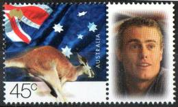 Australia 2001 Tennis Lleyton Hewitt - US Open Winner With 45c Kangaroo & Flag MNH - Ongebruikt