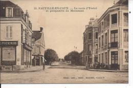 FAUVILLE EN CAUX - La Route D'Yvetot Et Perspective Du Monument - Non Classés
