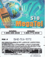 PUERTO RICO - Megatel, IDT Prepaid Card $10, Exp.date 3 Months After First Use, Used