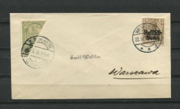 Germany In Occupied Poland 1916 Cover To Warszau Bi-sected Local Poczta Miejska Mixed Frankage - ....-1919 Provisional Government