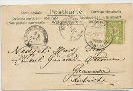 Kirchner Art Nouveau Voyagé  Pankaldi 1903 Vers Nedjib Hadj Bey Ottoman Consul Gravosa - Turquie