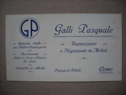 Cartoncino Fattura GALLI PASQUALE Tappezziere E Negoziante In Mobili - COMO 1926 - Fatture & Documenti Commerciali