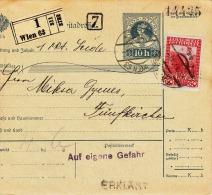 Österr.1915, 10H Ganzsache + 60H (ANK173) Auf Paketkarte G.v.Wien - Pecs - 1850-1918 Imperium