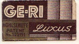 RAZOR BLADE RASIERKLINGE GE-RI LUXUS HOHLSCHLIFF PATENT No.525151 - Razor Blades