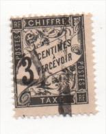 Fra403 France, Taxe, 1881, Type DUVAL, Yvert N. 12, 3 Cents Noir, A Percevoir - 1859-1955 Usados