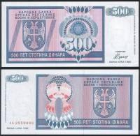 Bosnia Herzegovina ( Srpska Rep ) P 136 A - 500 Dinara 1992 - UNC - Bosnia Erzegovina