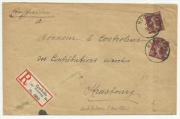 ALSACE - 1918 - ENVELOPPE RECOMMANDEE De HOCHFELDEN Avec CACHET PROVISOIRE + ETIQUETTE ALLEMANDE (MIXTE) - SEMEUSE - Marcofilia (sobres)