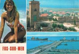 FOS-SUR-MER - Multi-vues : La Ville, Le Port Et Une Pin-up Souriante - Circulée En 1982, 2 Scans - Autres Communes