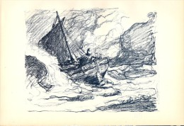 BERTRAM PRIESTMAN – Fisherman At Sea, 1898 Lithograph - FRANCO DE PORT - Lithographies