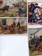 6331 - Quatre Illustrations Couleur Guerre :  Fusilliers Marins De Bruyer, Jamas Thiriar, Deux Cartes LVCIE - Guerre 1914-18