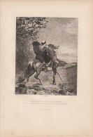 Arabe Portant Un Fou En Croupe (orientalisme) - Eau-forte De Rajon D´après Une Aquarelle De Eugène FROMENTIN 1879 - Estampes & Gravures