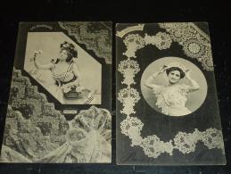 THEMES LOTS DE 3 CARTES - LES DENTELLES - CHANTILLY, POINT DE VENISE, DENTELLE DU PUY - (E) - 5 - 99 Cartoline