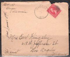 S505.-. USA, 1890-1893 , SCOTT # : 219D. WASHINGTON. ON COVER, OREGON ( WIS ) TO LOS ANGELES - 1847-99 Unionsausgaben