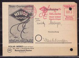 Illustrierte Karte, Drucksache, Freistempel Polar Helios Stahlgeraete Remscheid-Hasten, Nach Waiblingen 1944 (39779) - Covers & Documents