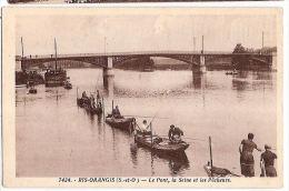 CPA Ris Orangis Le Pont La Seine Et Les Pêcheurs 91 Essonne - Ris Orangis