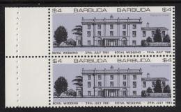 Barbuda MNH Booklet Pane Of 2 Imperf $4 Highgrove House, Purple - Royal Wedding Charles And Diana - Antigua Et Barbuda (1981-...)
