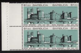 Barbuda MNH Booklet Pane Of 2 Imperf $1.50 Caernarvon Castle, Green - Royal Wedding Charles And Diana - Antigua Et Barbuda (1981-...)