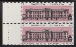 Barbuda MNH Booklet Pane Of 2 Imperf $1 Buckingham Palace, Salmon - Royal Wedding Charles And Diana - Antigua Et Barbuda (1981-...)