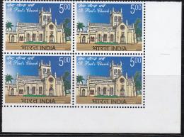 India MNH 2009, Block Of 4, St.Paul's Church, Architecture - Eglises Et Cathédrales