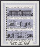 Barbuda MNH Scott #494 Sheet Of 6 Buckingham Palace, Caernarvon, Highgrove House Purple  Royal Wedding Charles And Diana - Antigua Et Barbuda (1981-...)