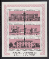 Barbuda MNH Scott #493 Sheet Of 6 Buckingham Palace, Caernarvon, Highgrove House Salmon  Royal Wedding Charles And Diana - Antigua Et Barbuda (1981-...)