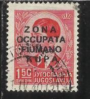 OCCUPAZIONI ITALIANE ITALY ITALIA ZONA FIUMANO KUPA 1941 OVERPRINTED SOPRASTAMPATO 1,50 D USED - 9. WW II Occupation (Italian)