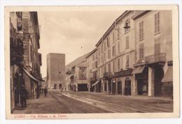 Como - Via Milano E La Torre (commerces, Rails Tramway, Petite Animation) Circulé 1932 - Como