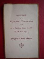-SOUVENIR De  1ere COMMUNION De BRIGITTE DE MAC MAHON - Petite Fille De Patrice De Mac-Mahon - Documents Historiques
