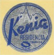 SPAIN ♦ GRANADA ♦ KENIA RESIDENCIA ♦ ESPAÑA ♦ VINTAGE LUGGAGE LABEL ♦ 2 SCANS - Hotel Labels