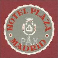 SPAIN ♦ MADRID ♦ HOTEL PLAZA ♦ ESPAÑA ♦ VINTAGE LUGGAGE LABEL ♦ 2 SCANS - Hotel Labels