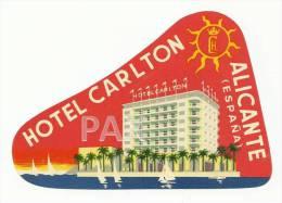 SPAIN ♦ ALICANTE ♦ HOTEL CARLTON ♦ ESPAÑA ♦ VINTAGE LUGGAGE LABEL ♦ 2 SCANS - Hotel Labels